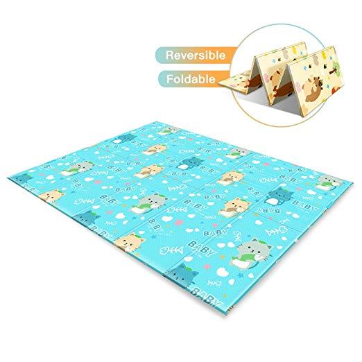 Baby Play Mat, Reversible Waterproof XPE Foam Playmat, Large/Extra Soft, 78